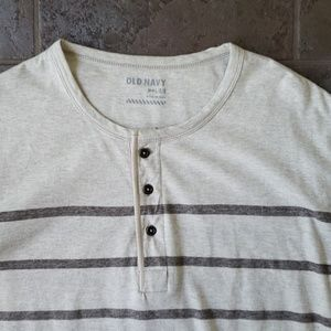 Old Navy Shirts - Old Navy Henley Large Cream Striped
